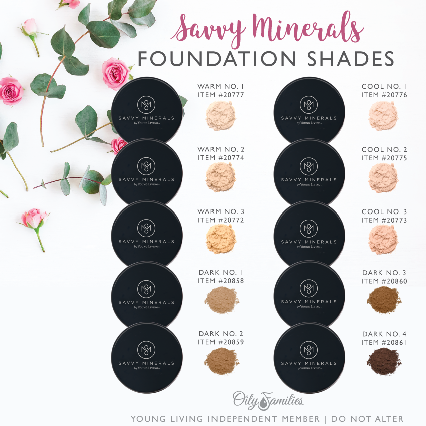 Savvy-Minerals-Foundation-Colors Savvy Minerals Young Living Make Up Oily Families