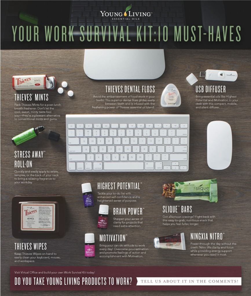 Work Survival with Young Living Essential Oils YLEOTeam #oilyfamilies