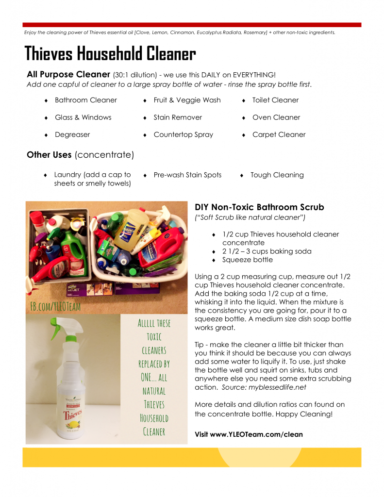 Thieves Household Cleaner Info Sheet Non toxic cleaning YLEO Team