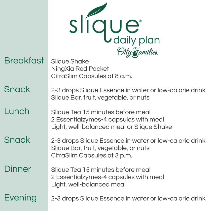 Slique Daily Supplement Plan for healthy weight Oily Families Young Living Essential Oils